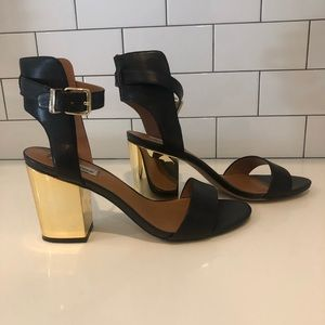 Steve Madden black leather with gold Heels Size 11